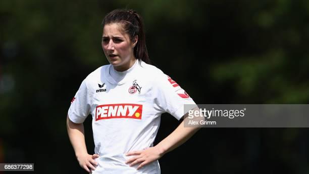 Karoline Kohr of Koeln reacts during the Second Bundesliga Women South match between FFC Niederkirchen and 1 FC Koeln on May 21 2017 in Deidesheim...
