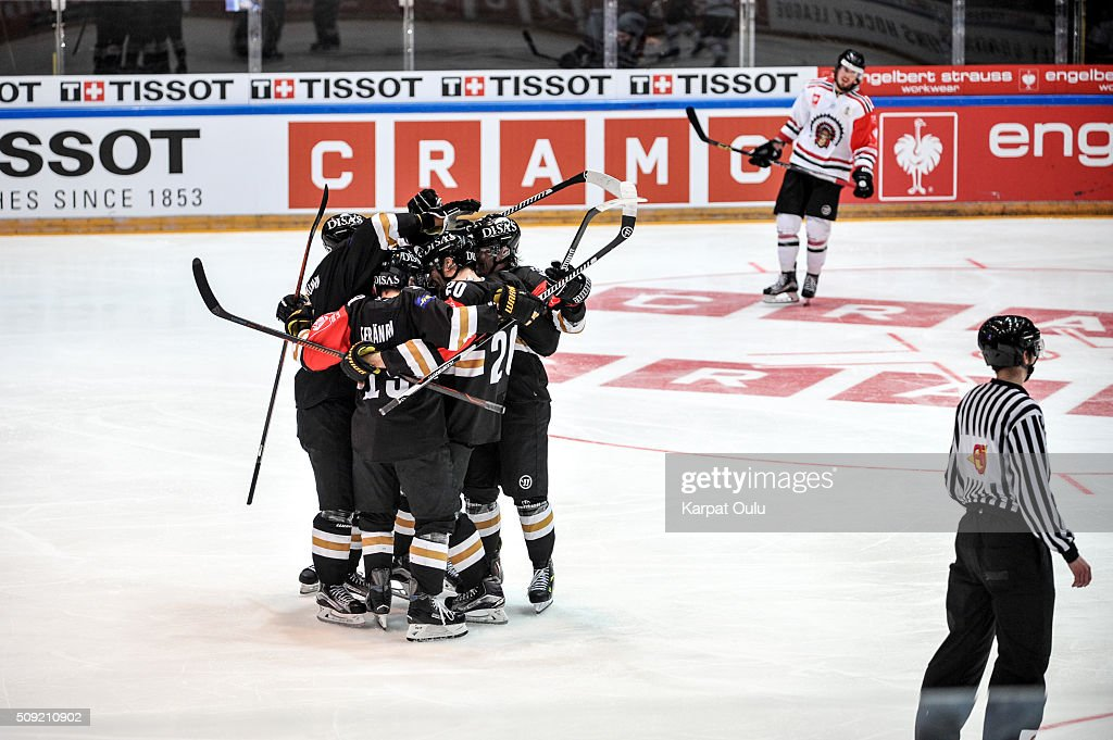 Karpat Oulu celebrating their opening goal during the Champions Hockey League final between Karpat Oulu and Frolunda Gothenburg at Oulun Energia-Areena on February 9, 2016 in Oulu, Finland.