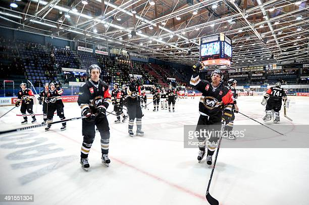 Karpat Oulu players greeting fans after the Champions Hockey League round of thirtytwo game between Karpat Oulu and Duesseldorfer EG at Oulun...