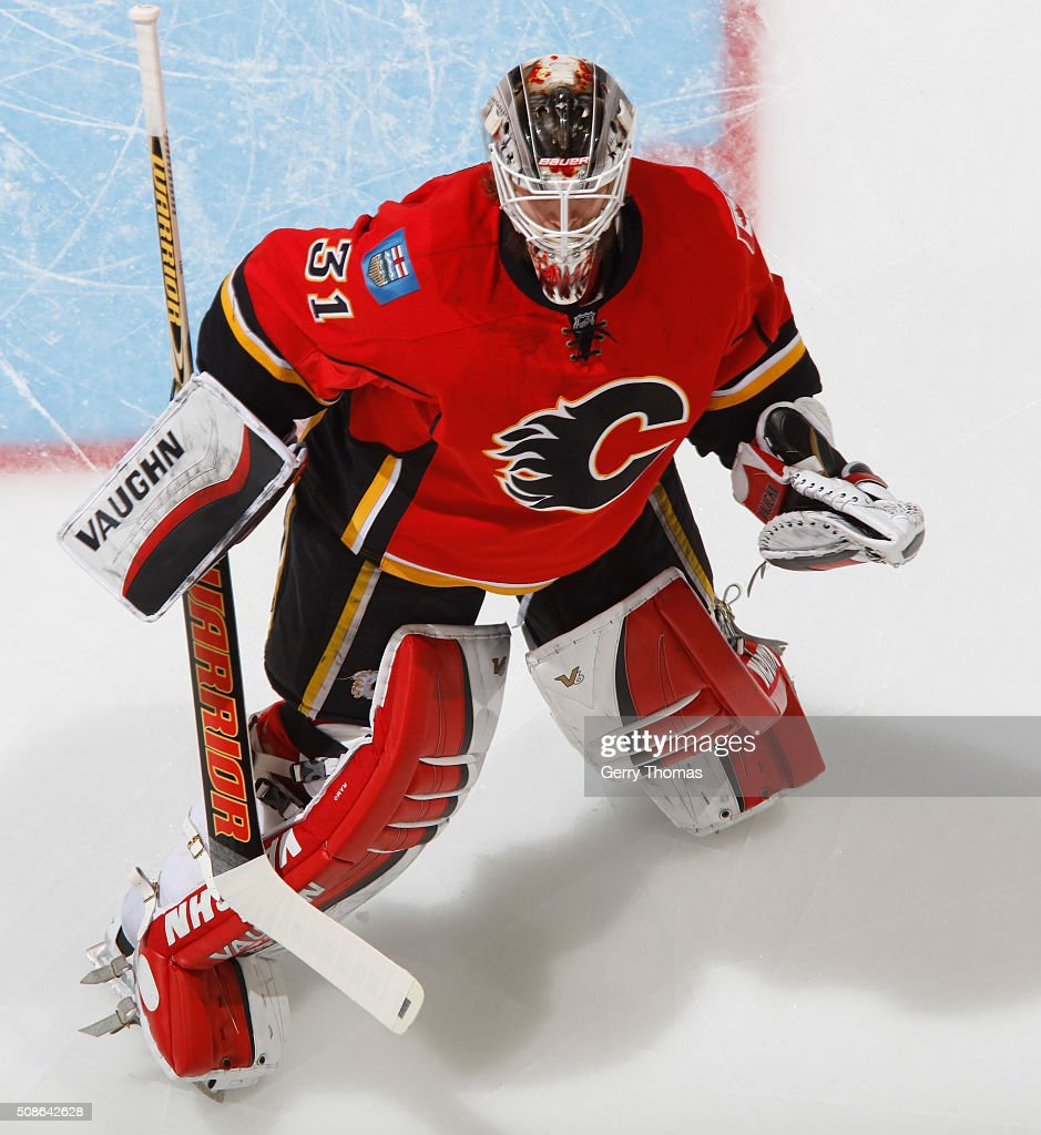 Karri Ramo #31 of the Calgary Flames keeps focused during the game against the Columbus Blue Jackets at Scotiabank Saddledome on February 5, 2016 in Calgary, Alberta, Canada.