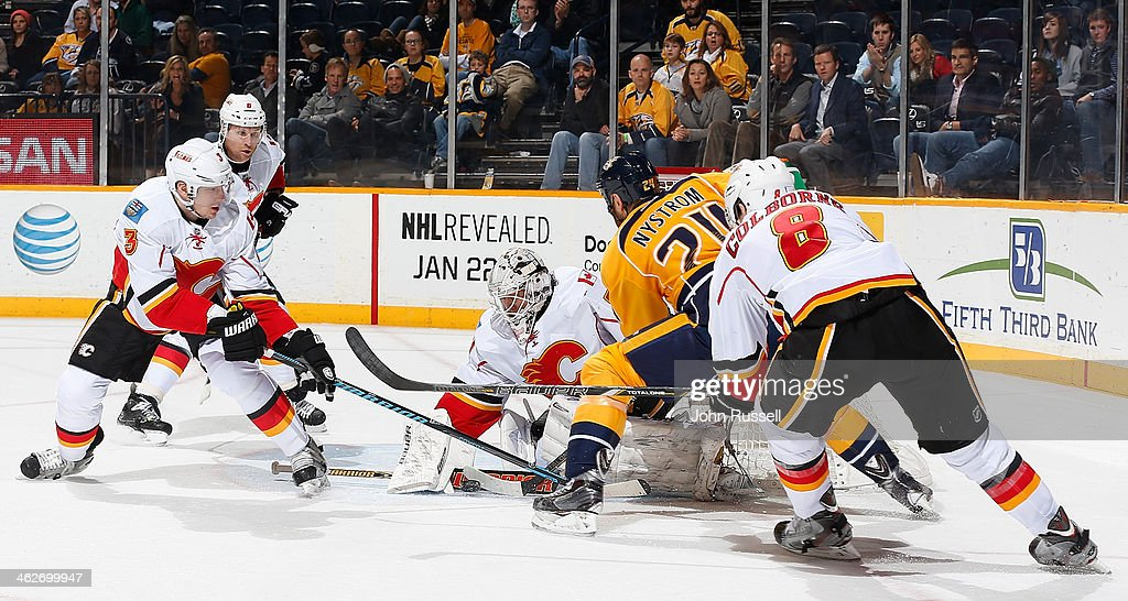 <a gi-track='captionPersonalityLinkClicked' href=/galleries/search?phrase=Karri+Ramo&family=editorial&specificpeople=716721 ng-click='$event.stopPropagation()'>Karri Ramo</a> #31 of the Calgary Flames makes the save against <a gi-track='captionPersonalityLinkClicked' href=/galleries/search?phrase=Eric+Nystrom&family=editorial&specificpeople=2209813 ng-click='$event.stopPropagation()'>Eric Nystrom</a> #24 of the Nashville Predators as Ladislav Smid #3 and <a gi-track='captionPersonalityLinkClicked' href=/galleries/search?phrase=Joe+Colborne&family=editorial&specificpeople=5370968 ng-click='$event.stopPropagation()'>Joe Colborne</a> #8 of the Flames defend at Bridgestone Arena on January 14, 2014 in Nashville, Tennessee.