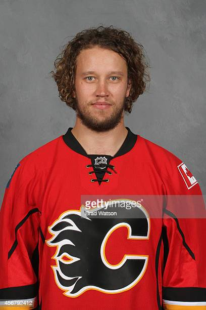 Karri Ramo of the Calgary Flames poses for his official headshot for the 20142015 season on September 18 2014 at the WinSport Winter Sport Institute...