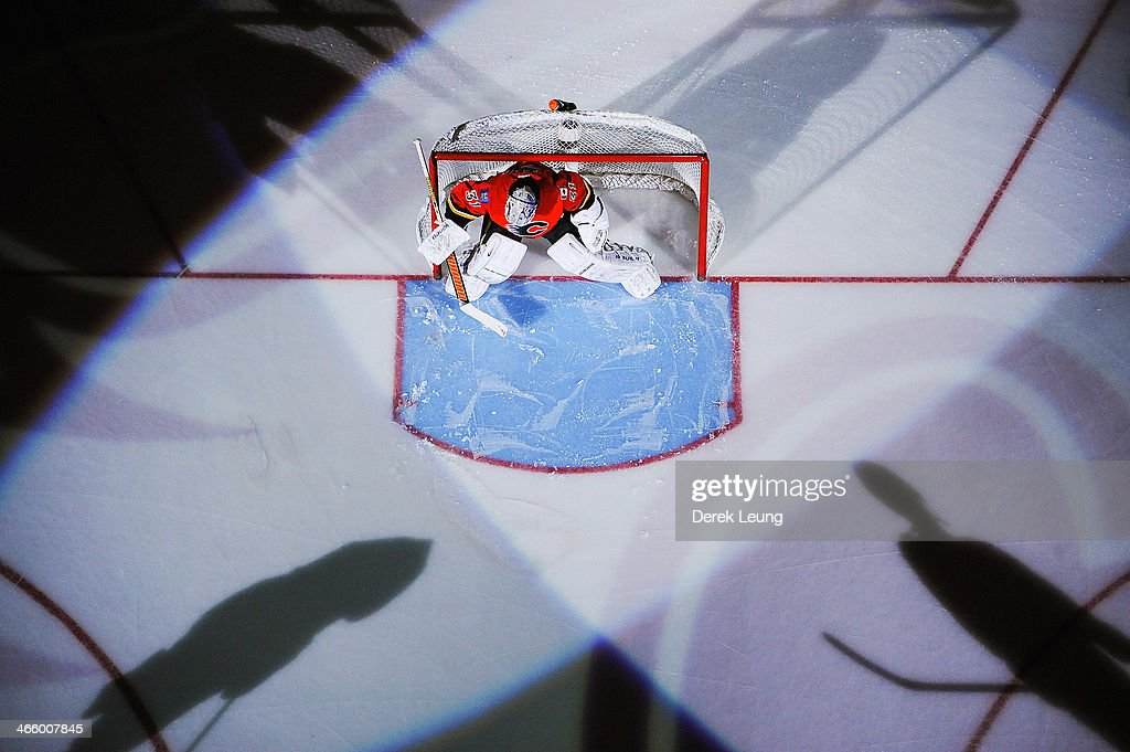 <a gi-track='captionPersonalityLinkClicked' href=/galleries/search?phrase=Karri+Ramo&family=editorial&specificpeople=716721 ng-click='$event.stopPropagation()'>Karri Ramo</a> #31 of the Calgary Flames prepares himself in his net prior to an NHL game against the San Jose Sharks at Scotiabank Saddledome on January 30, 2014 in Calgary, Alberta, Canada. The Flames defeated the Sharks 4-1.