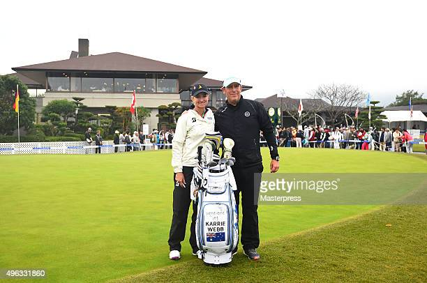 Karrie Webb of Australia and her caddie Mike Patterson poses after the third round of the TOTO Japan Classics 2015 at the Kintetsu Kashikojima...