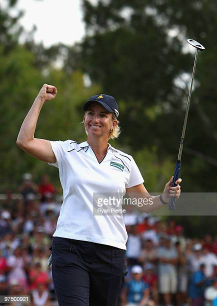 Karrie Webb of Australia celebrates after sinking her winning putt on the 18th hole during round four of the 2010 ANZ Ladies Masters at Royal Pines...