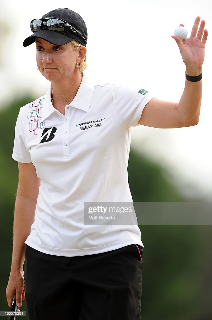 <a gi-track='captionPersonalityLinkClicked' href=/galleries/search?phrase=Karrie+Webb&family=editorial&specificpeople=202163 ng-click='$event.stopPropagation()'>Karrie Webb</a> of Australia celebrates victory after the Australian Ladies Masters at Royal Pines Resort on February 3, 2013 on the Gold Coast, Australia.