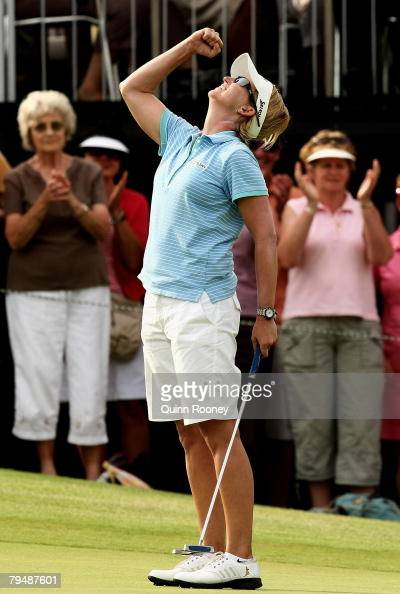 Karrie Webb of Australia celebrates winning the tournament after putting in on the second play off hole during round four of the Women's Australian...