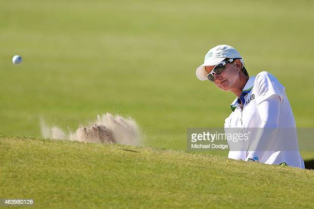 Karrie Webb of Australia hits an approach shot on the 10th hole during day three of the LPGA Australian Open at Royal Melbourne Golf Course on...