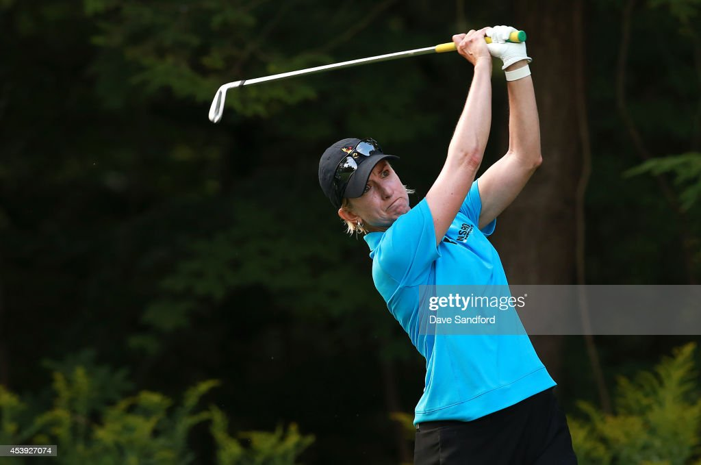 <a gi-track='captionPersonalityLinkClicked' href=/galleries/search?phrase=Karrie+Webb&family=editorial&specificpeople=202163 ng-click='$event.stopPropagation()'>Karrie Webb</a> of Australia hits her tee shot on the 8th hole during the first round of the LPGA Canadian Pacific Women's Open at the London Hunt and Country Club on August 21, 2014 in London, Ontario, Canada.