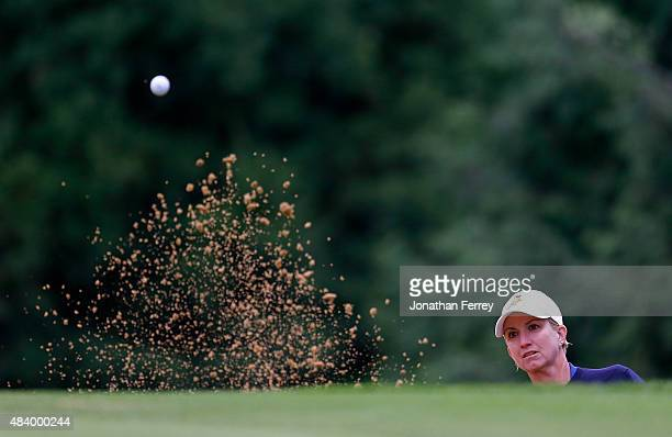 Karrie Webb of Australia hits out of the bunker on the 1st hole during the second round of the LPGA Cambia Portland Classic at Columbia Edgewater...