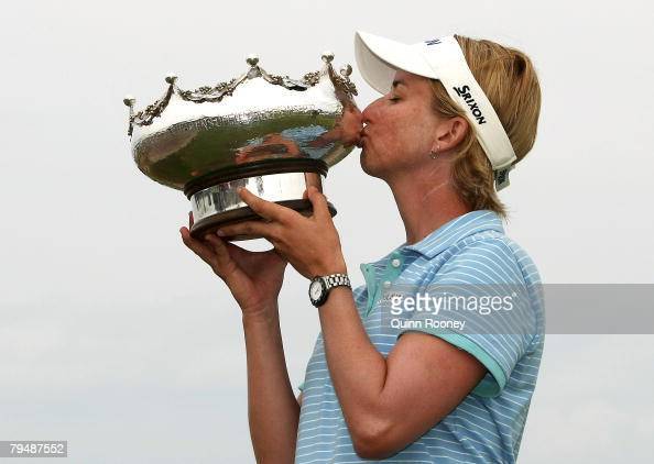 Karrie Webb of Australia kisses the trophy after winning the Women's Australian Golf Open 2008 at Kingston Heath Golf Club on February 3 2008 in...