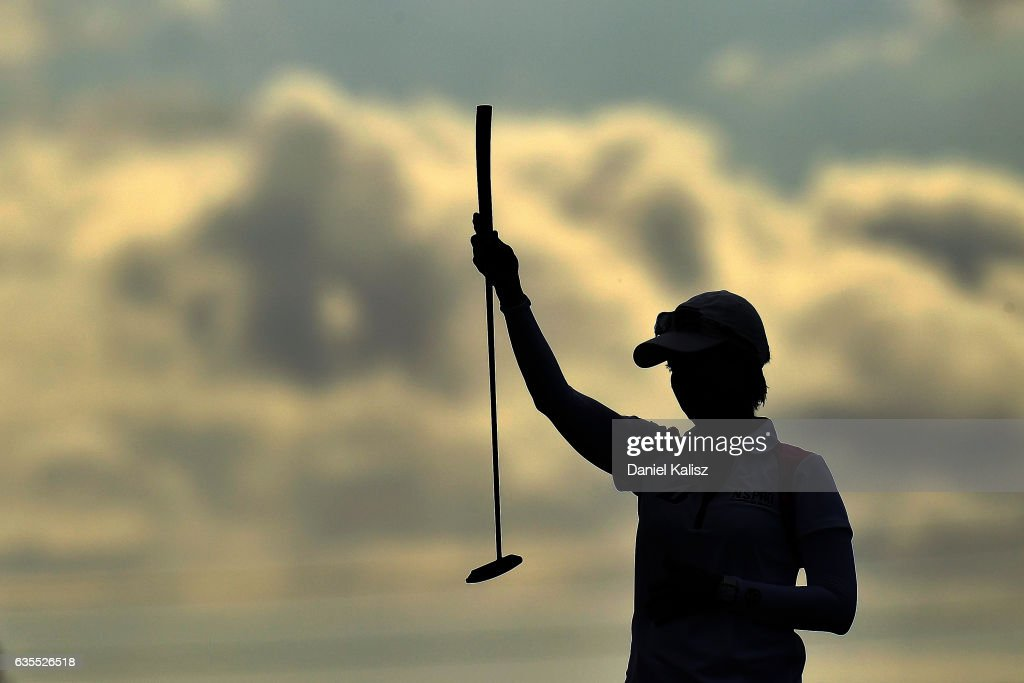 Karrie Webb of Australia lines up a putt during round one of the ISPS Handa Women's Australian Open at Royal Adelaide Golf Club on February 16, 2017 in Adelaide, Australia.