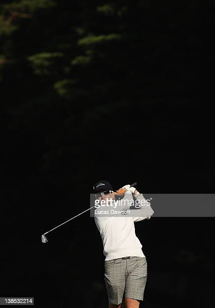 Karrie Webb of Australia plays a shot during day one of the 2012 Women's Australian Open at Royal Melbourne Golf Course on February 9 2012 in...