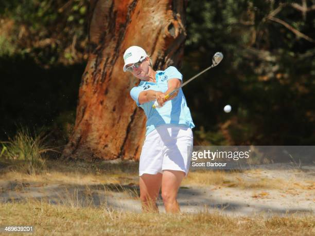 Karrie Webb of Australia plays a shot on the 12th hole during the fourth round of the ISPS Handa Women's Australian Open at The Victoria Golf Club on...