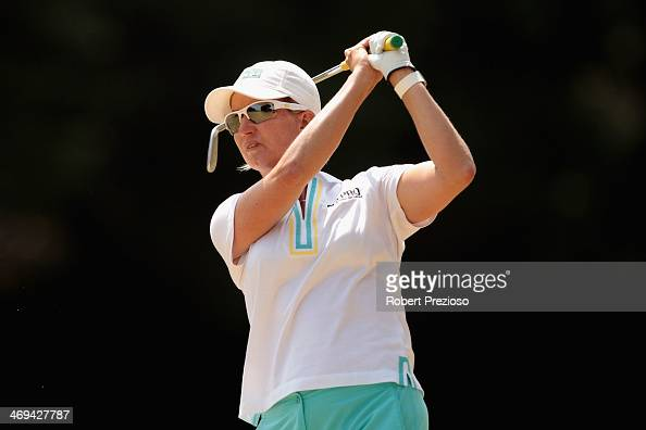 Karrie Webb of Australia plays a shot on the 2nd hole during day three of the ISPS Handa Women's Australian Open at The Victoria Golf Club on...