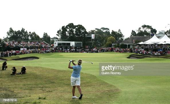 Karrie Webb of Australia plays her approach shot on the second play off hole during round four of the Women's Australian Golf Open 2008 at Kingston...
