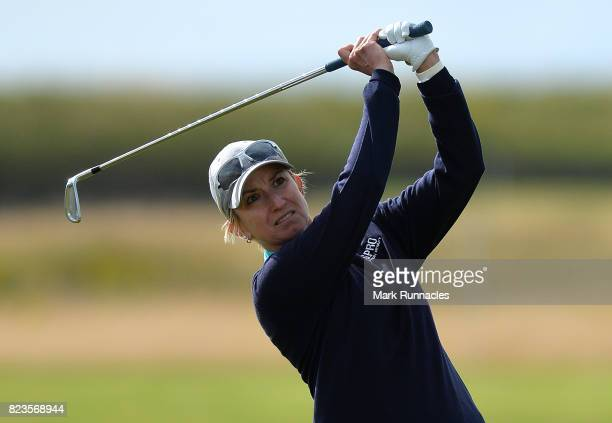 Karrie Webb of Australia plays her second shot at the 17th hole during the first day of the Aberdeen Asset Management Ladies Scottish Open at...