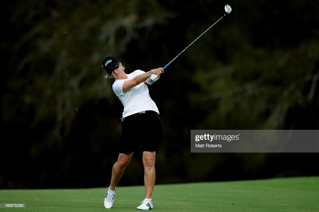 Karrie Webb of Australia plays her shot on the 15th hole during the Australian Ladies Masters at Royal Pines Resort on February 3, 2013 on the Gold Coast, Australia.