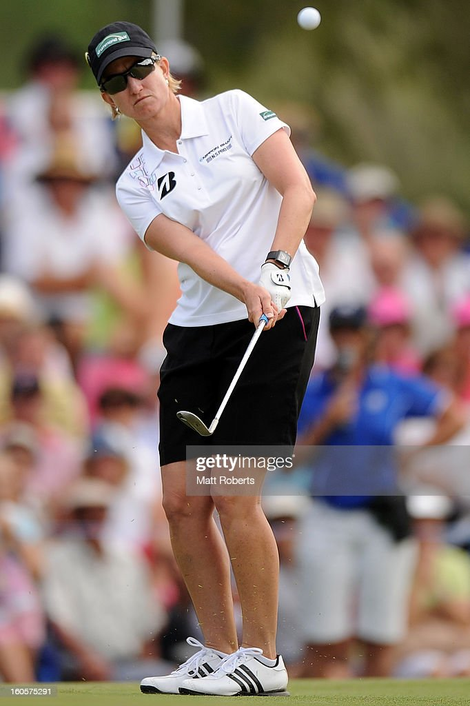 <a gi-track='captionPersonalityLinkClicked' href=/galleries/search?phrase=Karrie+Webb&family=editorial&specificpeople=202163 ng-click='$event.stopPropagation()'>Karrie Webb</a> of Australia plays her shot on the 18th hole during the Australian Ladies Masters at Royal Pines Resort on February 3, 2013 on the Gold Coast, Australia.