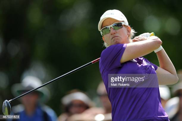 Karrie Webb of Australia plays her tee shot during day one of the 2014 Ladies Masters at Royal Pines Resort on February 6 2014 on the Gold Coast...
