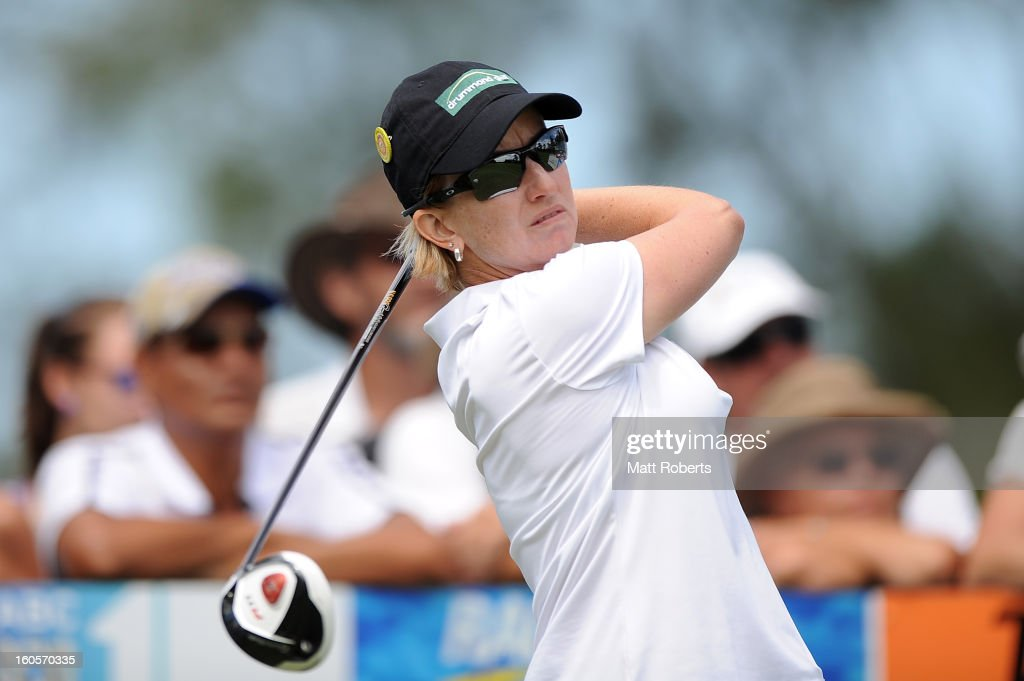 Karrie Webb of Australia plays her tee shot on the 9th hole during the Australian Ladies Masters at Royal Pines Resort on February 3, 2013 on the Gold Coast, Australia.