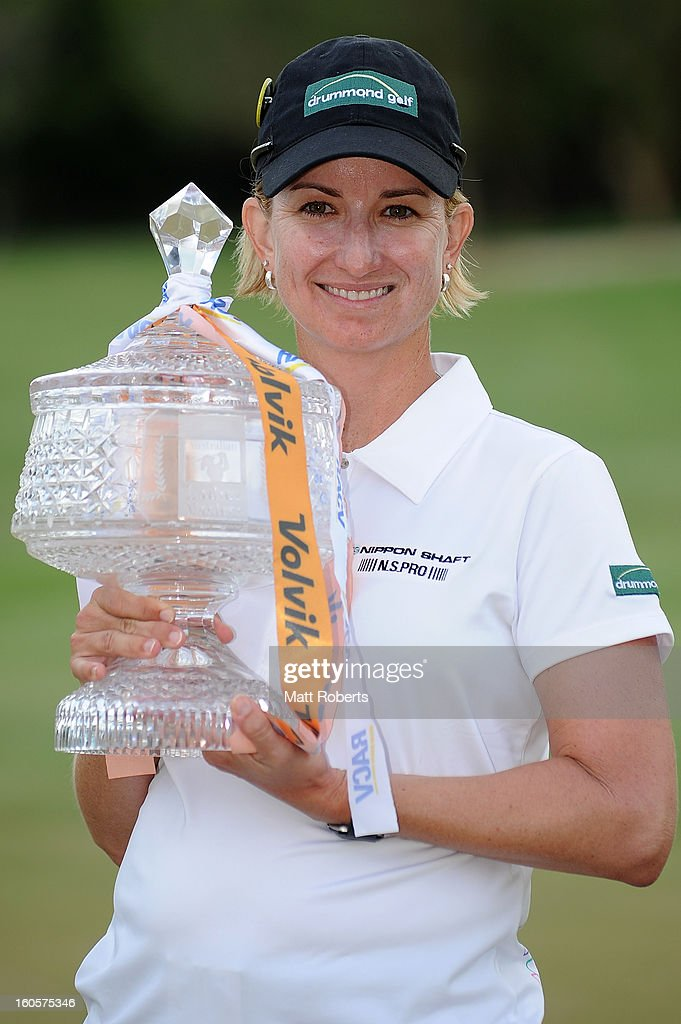 <a gi-track='captionPersonalityLinkClicked' href=/galleries/search?phrase=Karrie+Webb&family=editorial&specificpeople=202163 ng-click='$event.stopPropagation()'>Karrie Webb</a> of Australia poses with the winners trophy after the Australian Ladies Masters at Royal Pines Resort on February 3, 2013 on the Gold Coast, Australia.