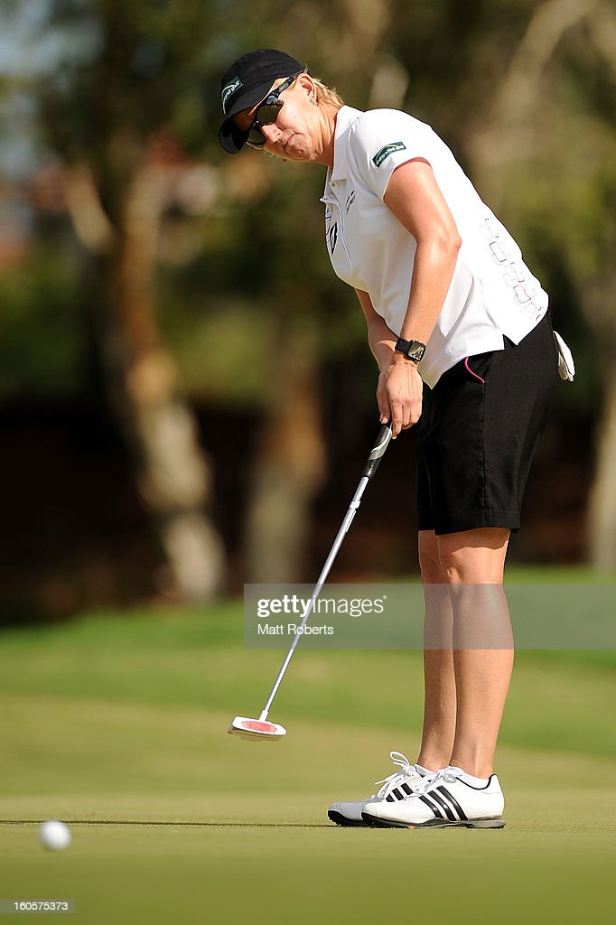 <a gi-track='captionPersonalityLinkClicked' href=/galleries/search?phrase=Karrie+Webb&family=editorial&specificpeople=202163 ng-click='$event.stopPropagation()'>Karrie Webb</a> of Australia putts on the 16th green during the Australian Ladies Masters at Royal Pines Resort on February 3, 2013 on the Gold Coast, Australia.