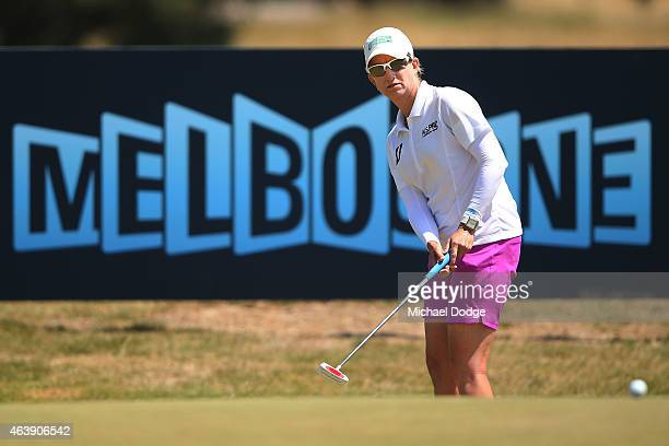 Karrie Webb of Australia putts on the 1st hole during day two of the LPGA Australian Open at Royal Melbourne Golf Course on February 20 2015 in...