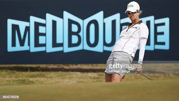 Karrie Webb of Australia reacts after a putt on the first hole during day four of the LPGA Australian Open at Royal Melbourne Golf Course on February...