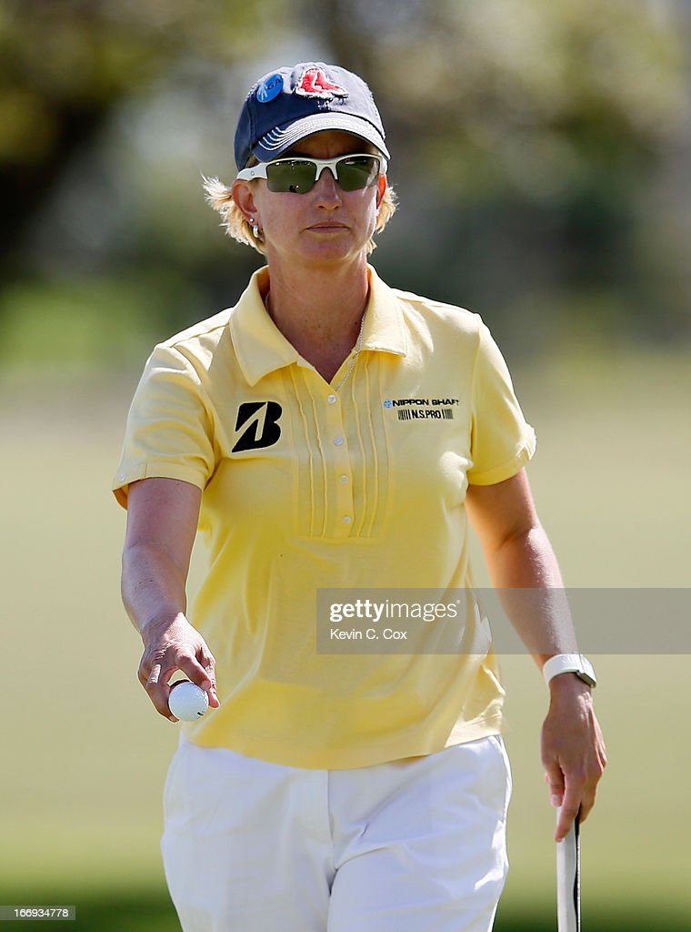 Karrie Webb of Australia reacts after her putt on the ninth green during the second round of the LPGA LOTTE Championship Presented by J Golf at the Ko Olina Golf Club on April 18, 2013 in Kapolei, Hawaii.
