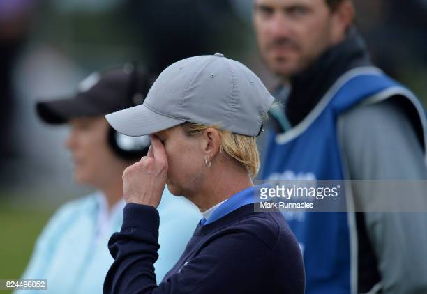 Karrie Webb of Australia reacts at the 18th green as she finishes second during the final day of the Aberdeen Asset Management Ladies Scottish Open...