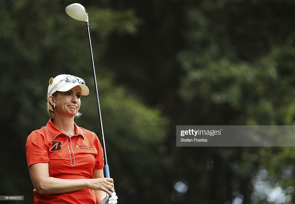<a gi-track='captionPersonalityLinkClicked' href=/galleries/search?phrase=Karrie+Webb&family=editorial&specificpeople=202163 ng-click='$event.stopPropagation()'>Karrie Webb</a> of Australia reacts during day one of the ISPS Handa Australian Open at Royal Canberra Golf Club on February 14, 2013 in Canberra, Australia.