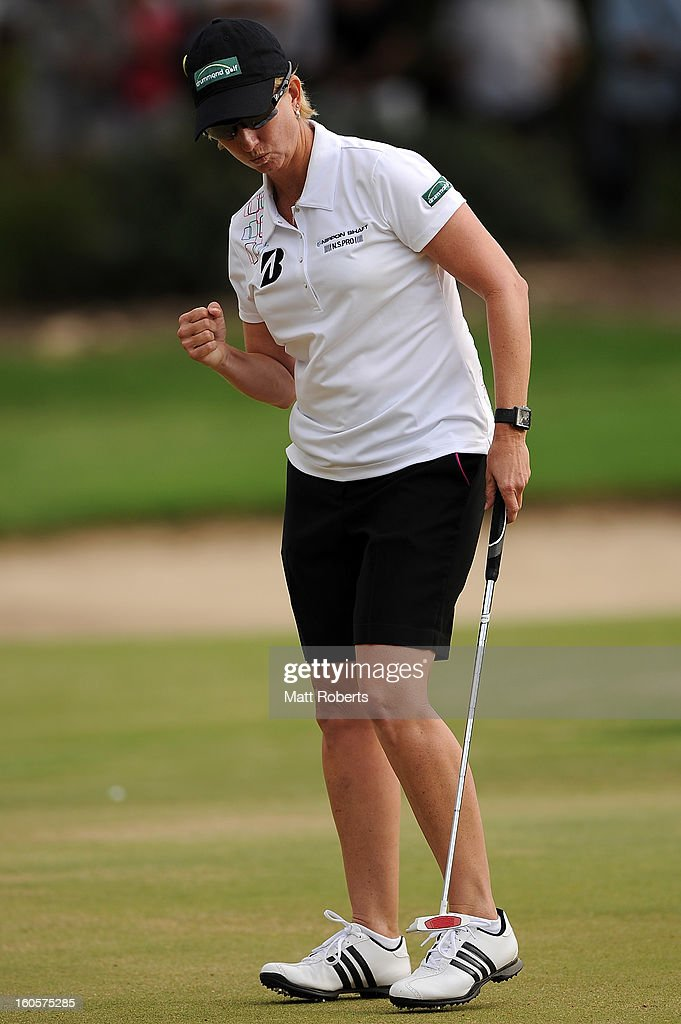 <a gi-track='captionPersonalityLinkClicked' href=/galleries/search?phrase=Karrie+Webb&family=editorial&specificpeople=202163 ng-click='$event.stopPropagation()'>Karrie Webb</a> of Australia reacts during the Australian Ladies Masters at Royal Pines Resort on February 3, 2013 on the Gold Coast, Australia.