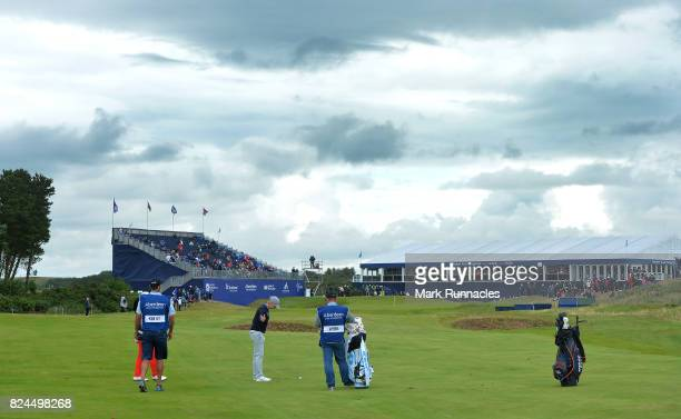 Karrie Webb of Australia waits to play her second shot at the 18th hole during the final day of the Aberdeen Asset Management Ladies Scottish Open at...