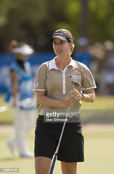 Karrie Webb sets a new course record of 62 during the third round of the ANZ Ladies Masters at Royal Pines on the Gold Coast Australia on February 10...