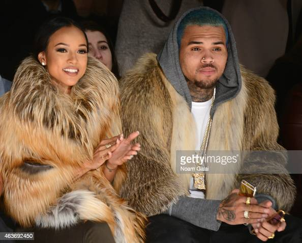 Karrueche Tran and Chris Brown attends the Michael Costello fashion show during MercedesBenz Fashion Week Fall 2015 at The Salon at Lincoln Center on...