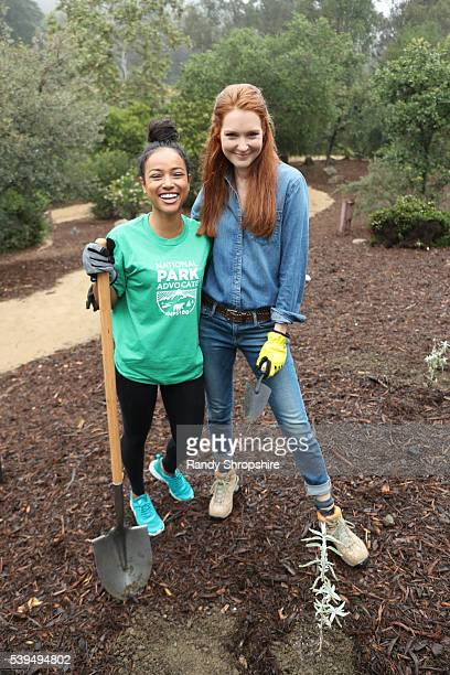 Karrueche Tran and Darby Stanchfield attend Sierra Club National Parks Conservation Assoc EMA 'Give Back Day' to celebrate the National Park Service...