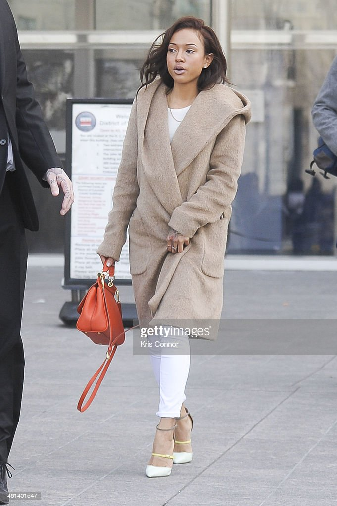 <a gi-track='captionPersonalityLinkClicked' href=/galleries/search?phrase=Karrueche+Tran&family=editorial&specificpeople=9447374 ng-click='$event.stopPropagation()'>Karrueche Tran</a>, Chris Brown's girlfriend, leaves court where Brown's attorneys rejected a plea deal that would have found him and his bodyguard guilty of simple assault on January 8, 2014 in Washington, DC. Brown faces a misdemeanor assault charge for allegedly punching a man in the face in October 2013.