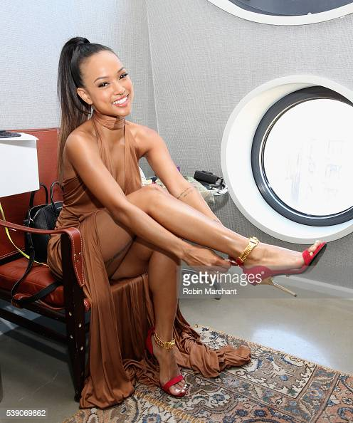 Karrueche Tran prepares for the 7th Annual amfAR Inspiration Gala at the Dream Downtown hotel on June 9 2016 in New York City