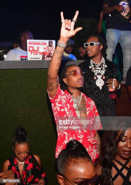Karrueche Tran Quavo and Takeoff attend The Birthday Bash After party Featuring the Migos at Compound on June 18 2017 in Atlanta Georgia