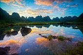 Karst area rural sunset ,Yangshuo,Guilin,China