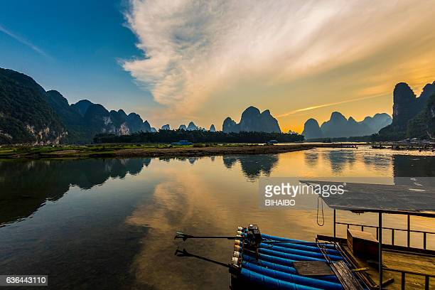karst landform dusk,xingping,yangshuo,guilin,china