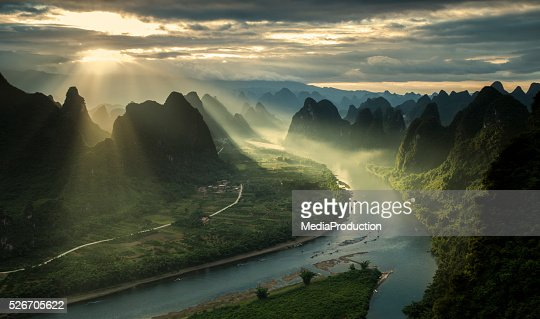 Karst mountains and river Li in Guilin/Guangxi region of China