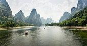 Karst Peaks Along Li River, Guangxi Province, China