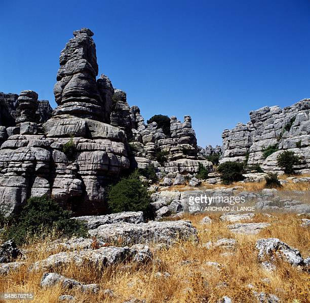 Karst rock formations in the Torcal de Antequera nature reserve Andalucia Spain