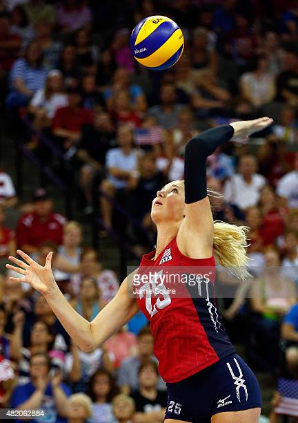Karsta Lowe of the USA in action during the final round match against China on day 5 the FIVB Volleyball World Grand Prix on July 26 2015 in Omaha...