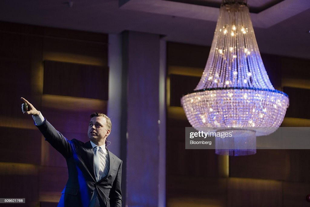 Karsten Kallevig, chief executive officer of the real estate group at Norges Bank Investment Management, points to a screen during a presentation at the Citykonferansen conference in Oslo, Norway, on Thursday, Feb. 11, 2016. The $840 billion fund in July, 2015, created a specific group to oversee real estate as it targets more direct management of assets. Photographer: Krister Soerboe/Bloomberg via Getty Images