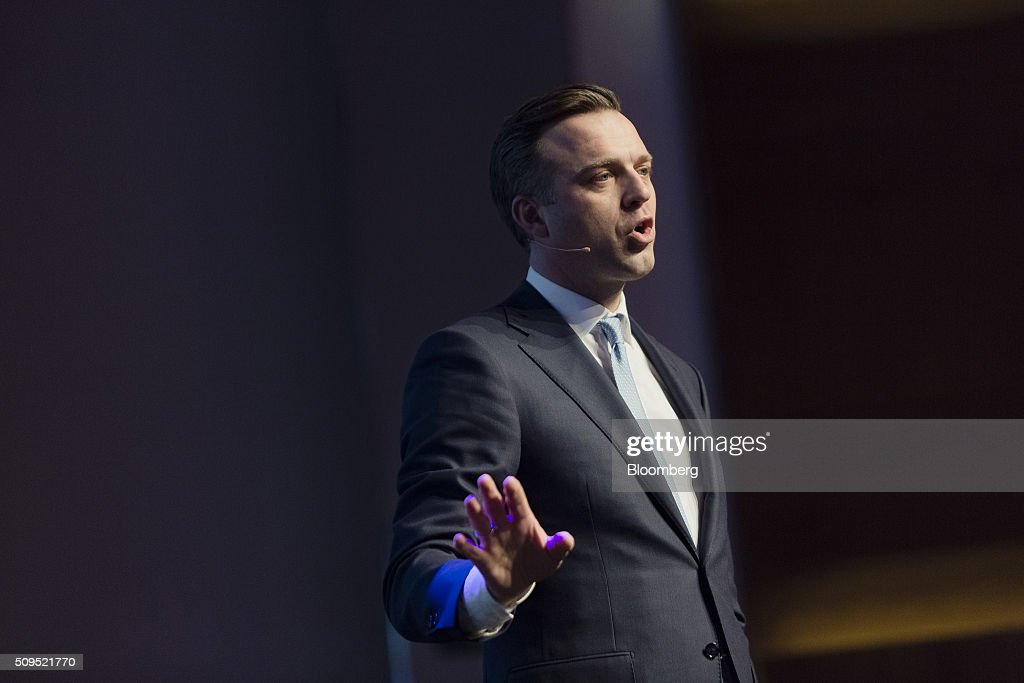 Karsten Kallevig, chief executive officer of the real estate group at Norges Bank Investment Management, gestures whilst speaking during a presentation at the Citykonferansen conference in Oslo, Norway, on Thursday, Feb. 11, 2016. The $840 billion fund in July, 2015, created a specific group to oversee real estate as it targets more direct management of assets. Photographer: Krister Soerboe/Bloomberg via Getty Images