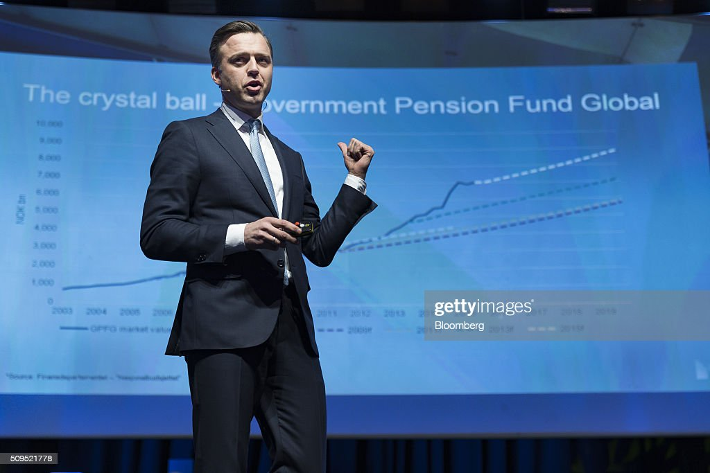Karsten Kallevig, chief executive officer of the real estate group at Norges Bank Investment Management, speaks during a presentation at the Citykonferansen conference in Oslo, Norway, on Thursday, Feb. 11, 2016. The $840 billion fund in July, 2015, created a specific group to oversee real estate as it targets more direct management of assets. Photographer: Krister Soerboe/Bloomberg via Getty Images