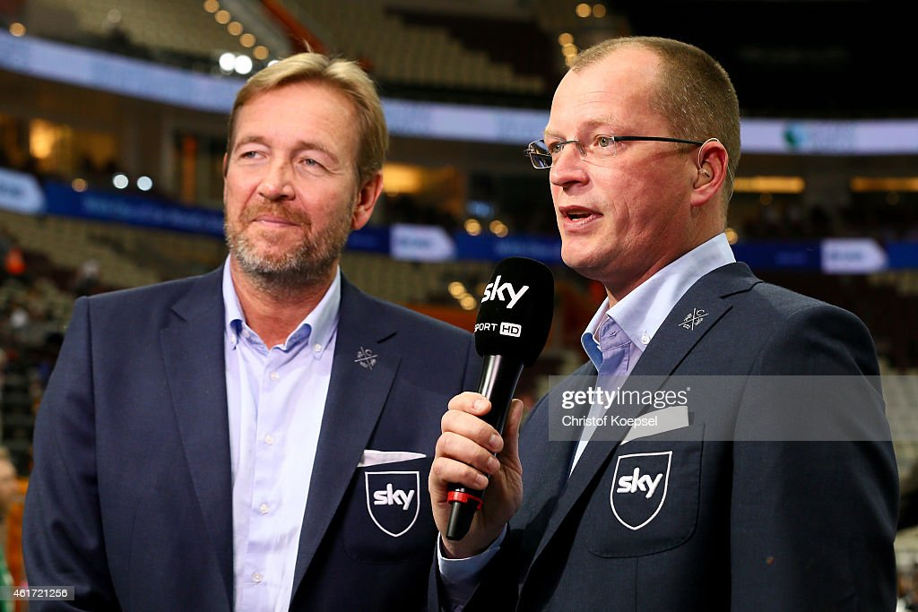 Karsten Petrzika sky commentator speaks to Martin Schwalb sky expert and cocommentator prior to the IHF Men's Handball World Championship group D...